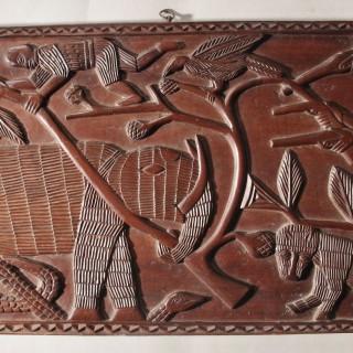 Benin Carved Hardwood Panels with Hunting Scenes Nigeria