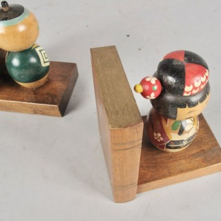 A pair of very rare and decorative original Japanese Kokeshi dolls nodding heads bookends Japan circa:1920/40