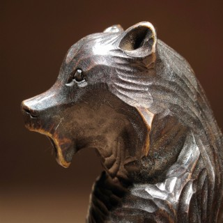 Black Forest Carved Sitting Bear Sculpture.