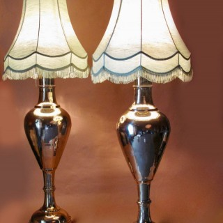 Very Large Indian Pair of Brass Cast Table Lamps circa 1920-1940