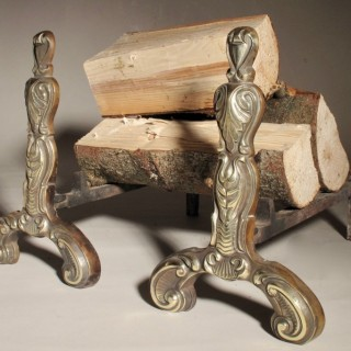 A Very Decorative Pair of Cast Brass/iron Chenets Firedogs