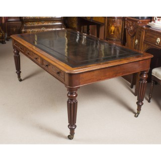 Antique 6ft Victorian 6 Drawer Partners Writing Table Desk C 1860