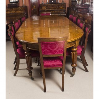 Antique Pollard Oak Victorian Extending Dining Table & 12 Chairs 19th C