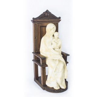 Antique Italian Madonna & Child Nikopoia Marble Sculpture 19th Century