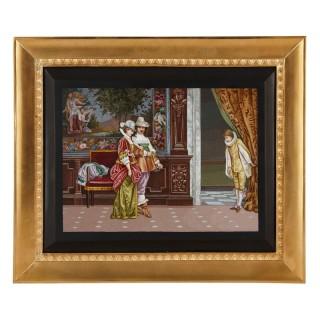 Antique Italian micromosaic depicting interior scene