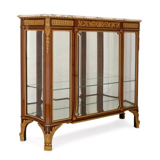 Antique gilt bronze mounted vitrine cabinet