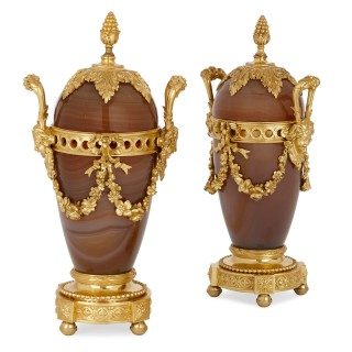 Two 19th Century Russian agate and gilt bronze vases