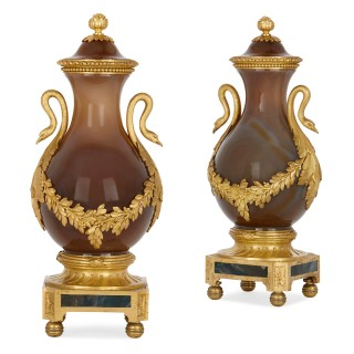 Two antique Russian agate and gilt bronze vases