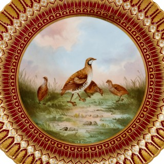 Set of Copeland porcelain plates decorated with game birds