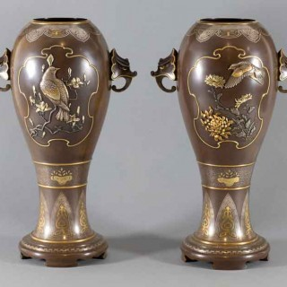 HIGH QUALITY PAIR OF JAPANESE MIXED METAL VASES BY MASAYUKI