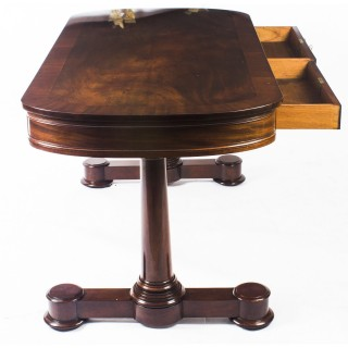 Antique Victorian Flame Mahogany Writing Library Centre Table 19th C