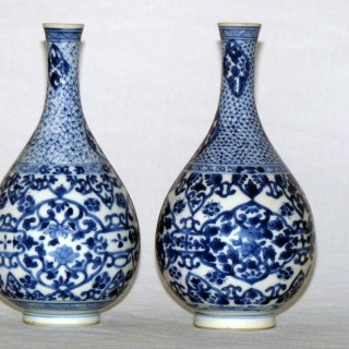 Kangxi Pair of Blue and White Pear shaped Bottle Vases