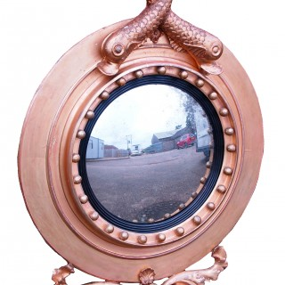 Antique Regency Period Giltwood Porthole Convex Mirror