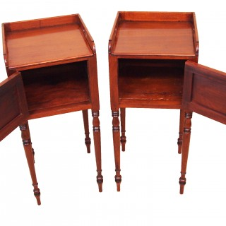 Antique Regency Mahogany Pair Of Bedside Cupboards