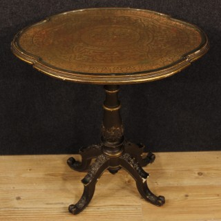 Italian Golden Side Table In Wood And Plaster From 19th Century