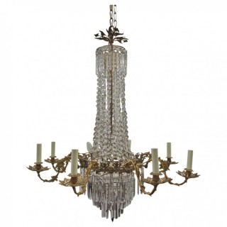 French Crystal and Gilded Brass Chandelier