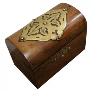 Victorian Burr Walnut and Brass Tea Caddy