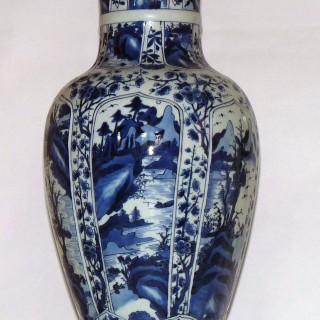 Kangxi Blue and White Tall Baluster Lidded Vase