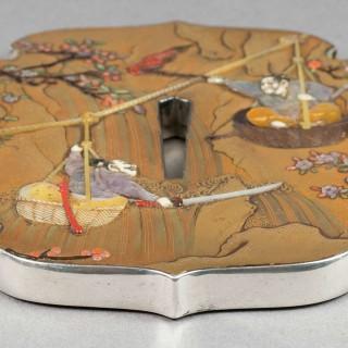LARGE JAPANESE GOLD LACQUER & SHIBAYAMA SILVER MOUNTED TSUBA - SHINZAN