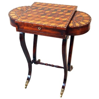 Antique Regency Rosewood & Parquetry Work Table