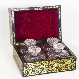 Antique French Ebonised Cut Brass Boulle Perfume Bottle Box c.1860
