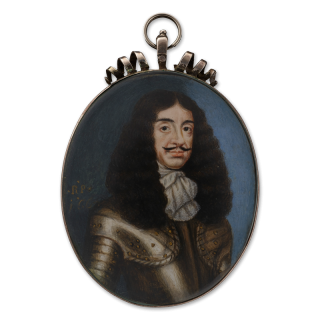 Portrait miniature of King Charles II (1630-1685), wearing gilt-studded armour and white lace jabot