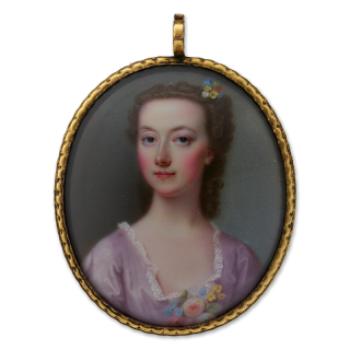 Portrait miniature of A young Lady, wearing pale pink dress, flowers at her corsage and in her curled, brown hair, circa 1740