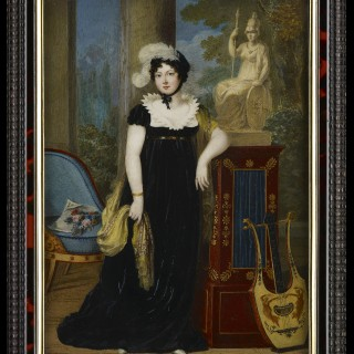 Portrait of a Noblewoman, traditionally identified as Princess Henriette of Nassau-Weilburg (1780-1857), wearing black dress with starched white lace collar, black bonnet decorated with two white ostrich feathers, c.1808