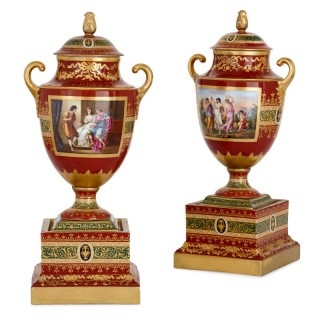 Pair of Neoclassical style Royal Vienna porcelain vases