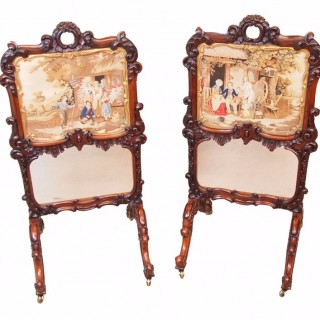 Antique Regency Pair Of Rosewood Fire Screens