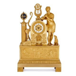 Empire period gilt bronze mantel clock