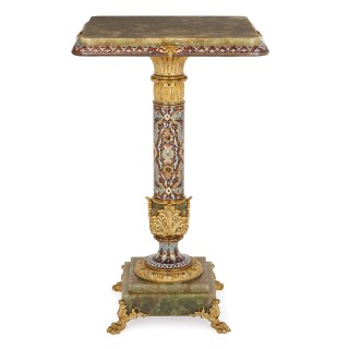 Antique gilt bronze, champlevé enamel and onyx side table
