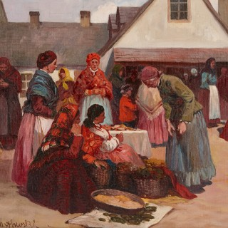 Oil painting of a Jewish shtetl by Maslowski, 'Market Day in Galicia'