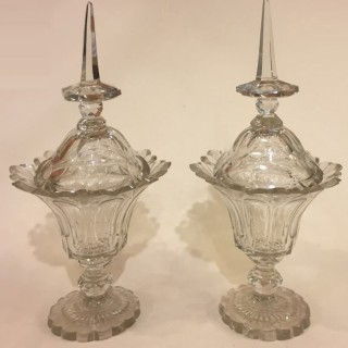 Pair of late 19th century glass Bonbonnière with lids