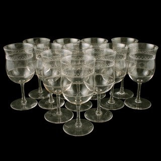 Twelve Edwardian Wine Glasses