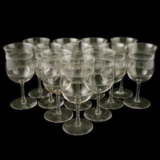 Twelve Edwardian Wine Glasses