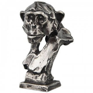 Sterling silver sculpture of a chimpanzee