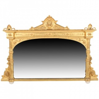 Victorian Carved Gesso Wood Overmantel Mirror