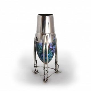 A rare Archibald Knox Cymric Liberty silver and enamel  vase