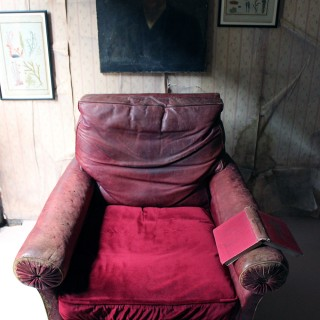 Large Mid-19thC English Oak & Red Morocco Leather Library Armchair c.1850; Fonthill Abbey, Wiltshire