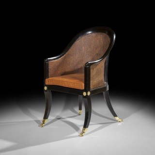 Regency Ebonised Klismos Bergere Armchair, attributed to Gillows