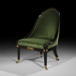 Regency Ebonised Brass Mounted 'Roman' Chair