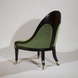 Regency Ebonised Brass Mounted 'Roman' Chair