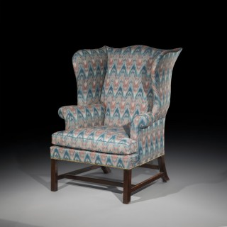 Fine George III Chippendale Mahogany Wing Armchair