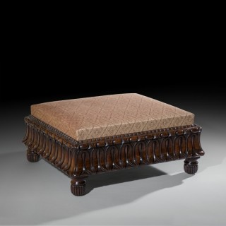 Large Regency Carved Rosewood Ottoman Stool