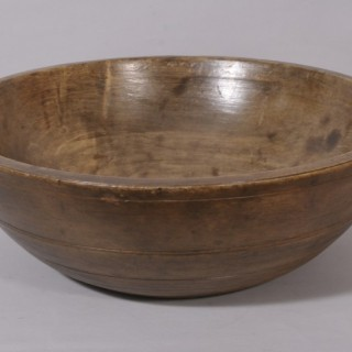 Antique 19th Century Large Sycamore Dairy Bowl