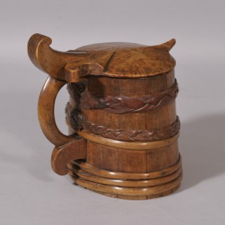 Antique Treen 19th Century Scandinavian Lidded Tankard