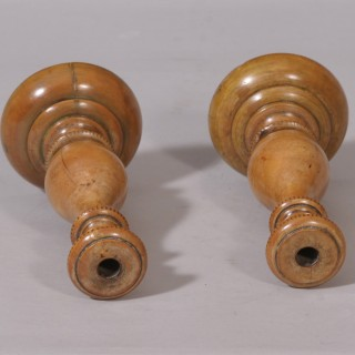 Antique Treen 18th Century Pair of Boxwood Taper Sticks