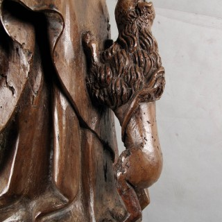 Carved Walnut Sculpture of Hieronymus and the Lion