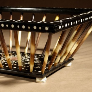 Anglo Indian Porcupine Quill Work/Knitting Ebony Inlaid with Bone Basket